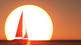 Bateau à voiles et coucher du soleil Photo stock