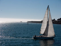 Bateau à voiles glissant sur la mer calme Image stock