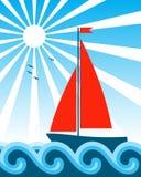 Bateau à voiles sur la mer Images libres de droits