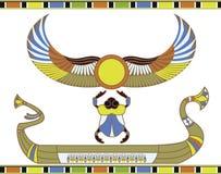 Bateau égyptien du soleil avec le scarabée illustration de vecteur
