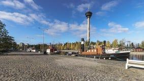 Bateau amarré à Tampere, Finlande image libre de droits