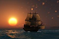Bateau antique au coucher du soleil Photographie stock