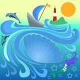 Bateau avec la voile bleue parmi les vagues Phare rayé sur une île dans l'océan Photo stock