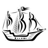 Bateau avec les voiles, le contour noir, le voyage et les aventures illustration stock