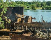 Bateau cassant la cour, Cuba photos libres de droits