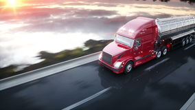 Bateau-citerne d'essence, remorque d'huile, camion sur la route Entraînement très rapide Animation 4K réaliste illustration de vecteur