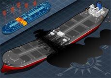 Bateau-citerne isométrique de bateau détruit dans deux parts en Front View Images libres de droits