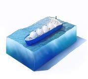 Bateau-citerne liquide de gaz naturel sur une partie d'océan illustration stock