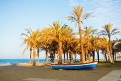 Bateau coloré en bois se tenant sur la plage arénacée de baie près des hauts palmiers avec l'eau de mer bleue au fond dans l'even Photographie stock libre de droits