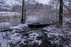 Bateau congelé Photo libre de droits
