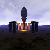 Bateau d'UFO d'étranger dans futuriste illustration de vecteur
