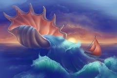 Bateau dans l'océan Photo libre de droits