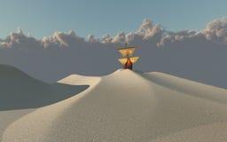 Bateau dans le désert Photos stock