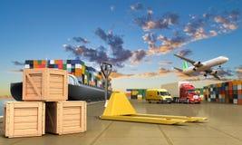 Bateau dans le dock et le fret Image stock