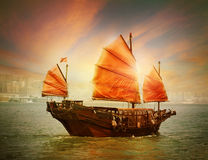 Bateau de camelote de Hong Kong Photo stock