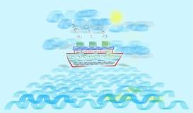 Bateau de croisière dans l'océan Photos stock