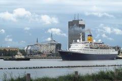 Bateau de croisière en Marine Port Of Riga, Lettonie Image libre de droits