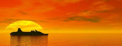Bateau de croisière par coucher du soleil - 3D rendent illustration stock