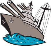 Bateau de cuirassé de vaisseau de guerre avec de grands canons Photos stock