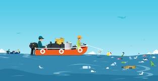 Bateau de déchets de mer illustration libre de droits