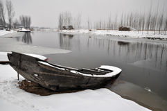 Bateau de DianBian d'hiver Images libres de droits