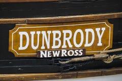 Bateau de famine de reproduction de Dunbrody dans nouveau Ross image libre de droits