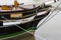 Bateau de famine de reproduction de Dunbrody dans nouveau Ross images stock