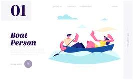 Bateau de flottement de jeunes couples heureux Homme ramant l'eau avec la palette, châle de prise de fille Vacances d'été, temps  illustration de vecteur