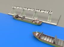 Bateau de fret de cargaison de récipient dans le dock Photos stock