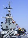 Bateau de guerre israélien de missile au port de Haïfa Images libres de droits