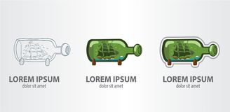 Bateau de logo dans une bouteille Images stock