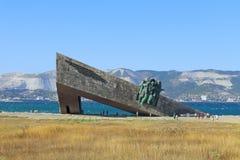 Bateau de monument à la mémoire du héroisme des soldats et des marins soviétiques pendant la deuxième guerre mondiale dans Novoro image libre de droits