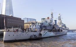 Bateau de musée de HMS Belfast Images libres de droits