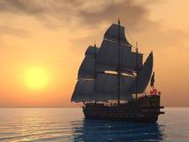 Bateau de navigation avec le coucher du soleil Illustration Libre de Droits