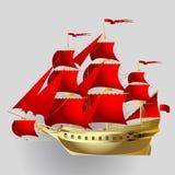 Bateau de navigation d'or avec les voiles rouges sur le fond gris illustration stock