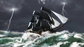 Bateau de navigation dans une tempête de foudre illustration de vecteur