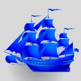 Bateau de navigation de papier bleu sur le fond gris illustration stock