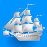 Bateau de navigation de papier sur le fond bleu illustration libre de droits