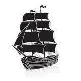 Bateau de navigation de vintage en mer avec la réflexion illustration de vecteur