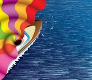 Bateau de navigation et fumée bariolée abstraite illustration libre de droits