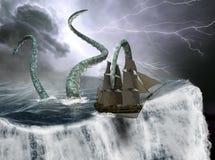 Bateau de navigation grand, bord du monde, monstre de mer photographie stock