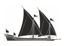 bateau de navigation noir sur le fond blanc Images libres de droits