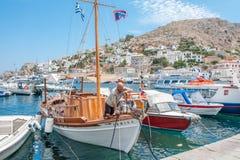 Bateau de pêche à l'hydre grecque d'île Photo libre de droits