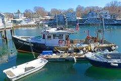 Bateau de pêche chez Rockport, le Massachusetts Photos libres de droits