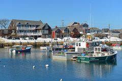 Bateau de pêche chez Rockport, le Massachusetts Photo stock