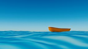 Bateau de pêche dans le rendu de la mer 3d Photos libres de droits