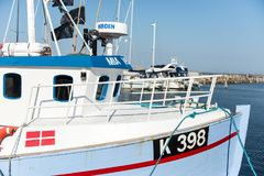 Bateau de pêche dans Vedbaek Images libres de droits