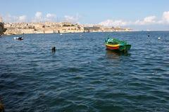 Bateau de pêche de Luzzu, port grand Photos libres de droits