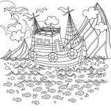 Bateau de pêche flottant en mer sans couleur illustration libre de droits