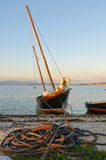 Bateau de pêche galicien traditionnel Images libres de droits